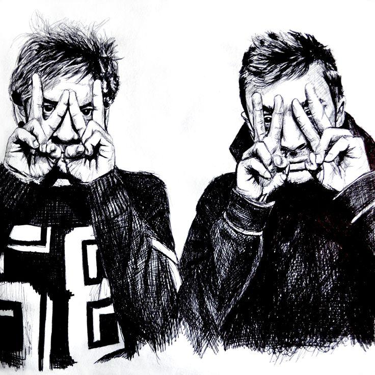 Twenty One Pilots. Josh Dun and Tyler Joseph. Black pen drawing. https://www.facebook.com/anetambiel/