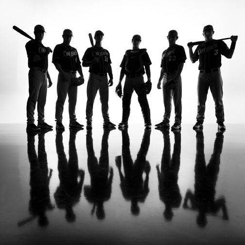 Cool team/group of close friends/sisters softball pose {or same player and multiple poses put together}