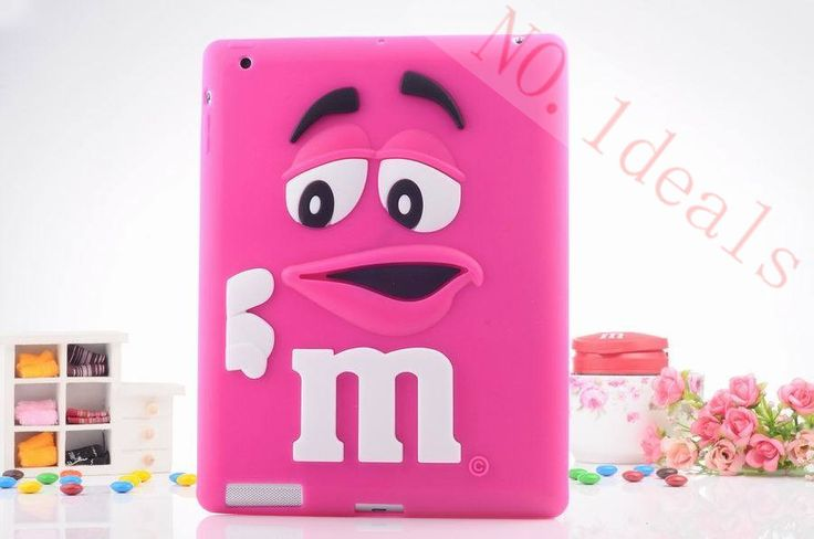 Free shipping case for ipad4 tablet accessories fashion cartoon wit MM rainbow beans silicone case cover for apple ipad2 / 3