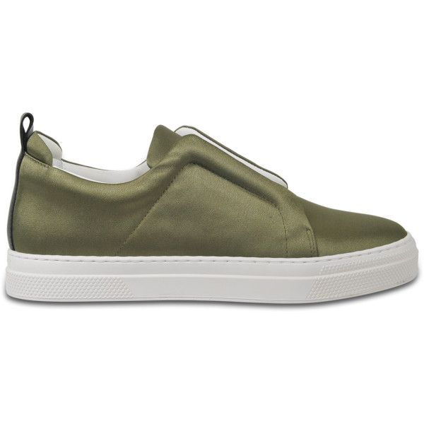 Pierre Hardy Satin slider sneakers ($468) ❤ liked on Polyvore featuring shoes, sneakers, green, velcro strap sneakers, velcro shoes, tennis trainer, pierre hardy and pierre hardy sneakers