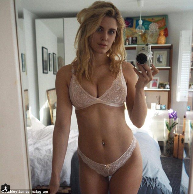 Ashley James shows off her tiny midriff and curves in glam ...