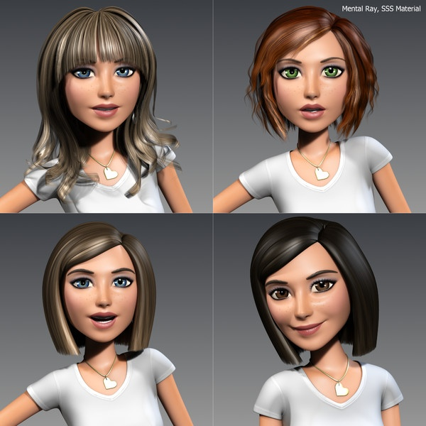 3ds max cartoon character young woman Angie Cartoon