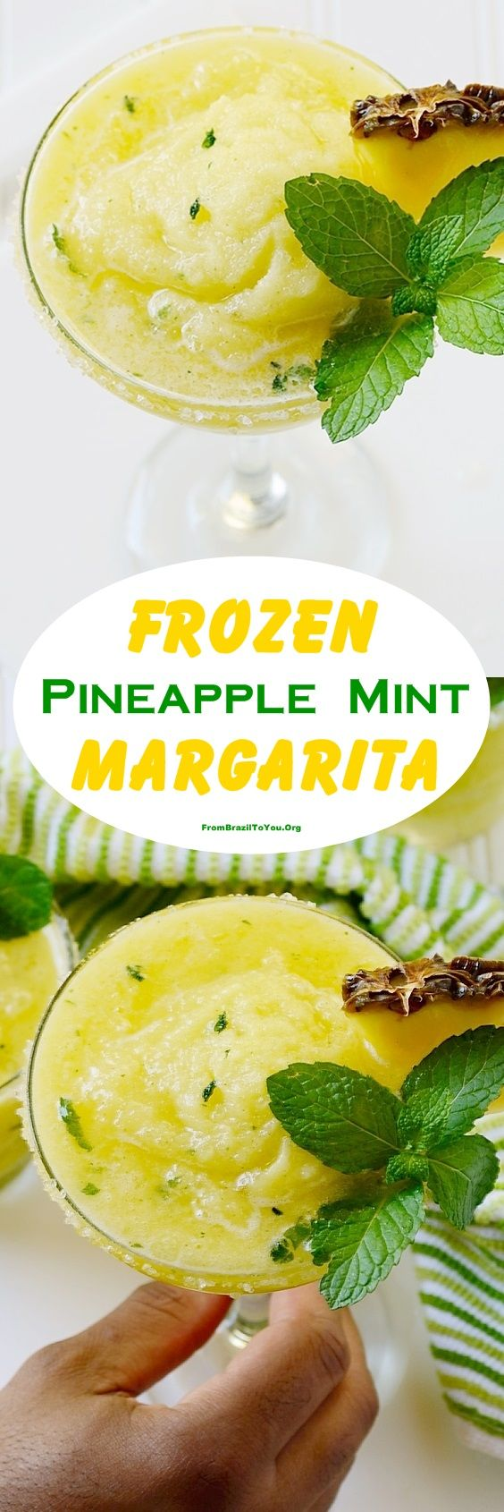SLUSHY Frozen Pineapple Mint Margarita -- made with frozen pineapple chunks, mint, tequila, sugar, and ice... to celebrate Cinco de Mayo, parties, or no occasion at all. So gooood!!!