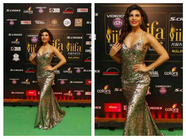 Jacqueline walked the green carpet like she owned it. The sparkling gown was a custom by designer Monisha Jaising. Hair worn in curls, her look was finished out with a bright pink lip