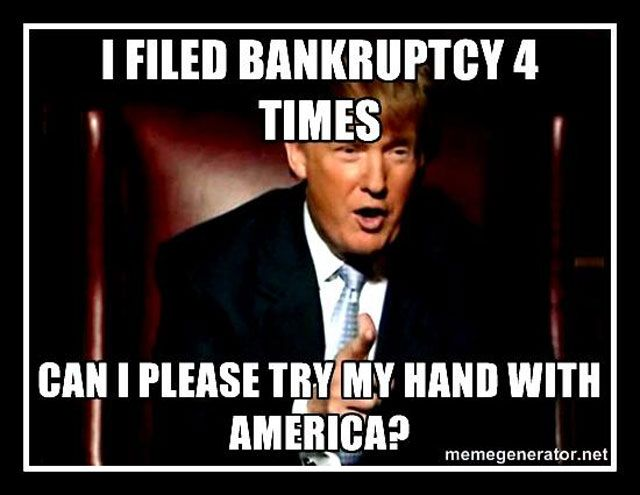 Donald Trump, there is nothing honorable or smart about Bankruptcy. It's an abuse of the system. Everyone knows that the chapter laws are a last resort. I'm sorry but I don't see how a man with a net worth of $4 billion had reached a last resort type of situation. Yet another way that business is sucking money out of the system. They need to hammer him on this. The people I know--those he's rallying so hard--can't stand bankruptcy. #trump #bankruptcy