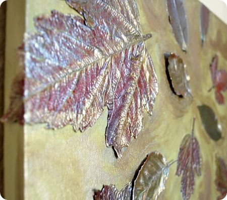 Leaves on canvasFall Leaves, Autumn Leaves, Painting Metals, Canvas Art, Diy Canvas, Canvas Wall Art, Leaf Art, Art Projects, Leaf Canvas