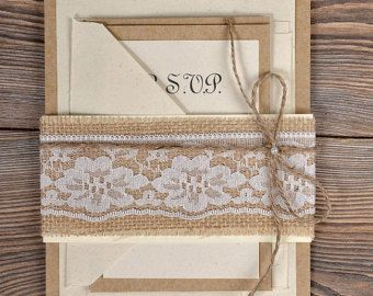 Custom listing (100) Burlap Lace Wedding Invitation, Country Wedding Invitation, Rustic Wedding  Invitation, Shabby Chic Invitation