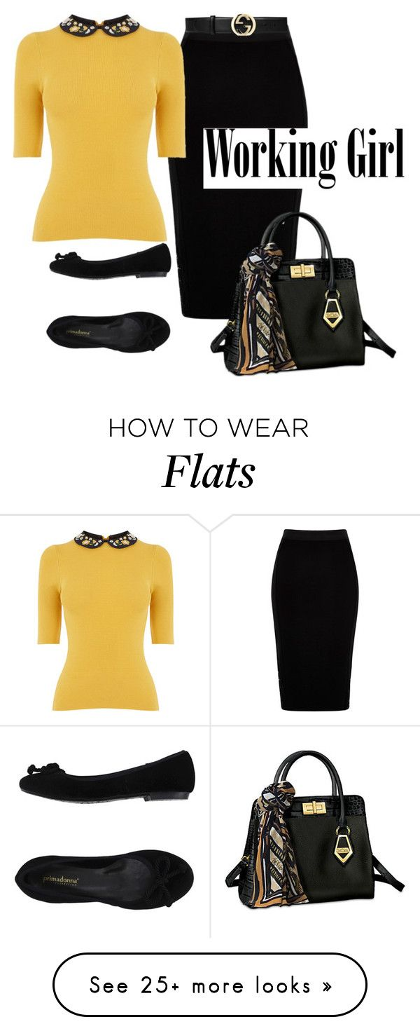 """""""golden workgirl"""" by rvazquez on Polyvore featuring River Island, The Bradford Exchange, PrimaDonna, Gucci, WorkWear, gucci and bobmackie"""