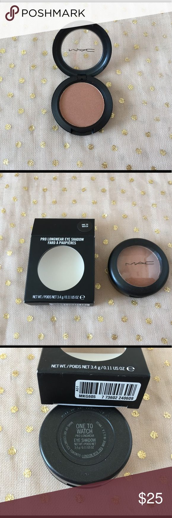 MAC Pro Longwear Eyeshadow One To Watch New in box. Never used or swatched. MAC Pro Longwear Eyeshadow in One To Watch, large eyeshadow (3.4g). Limited Edition. MAC Cosmetics Makeup Eyeshadow