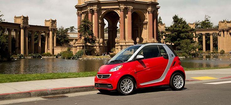 green mini car. pure coupe fortwo. smart USA