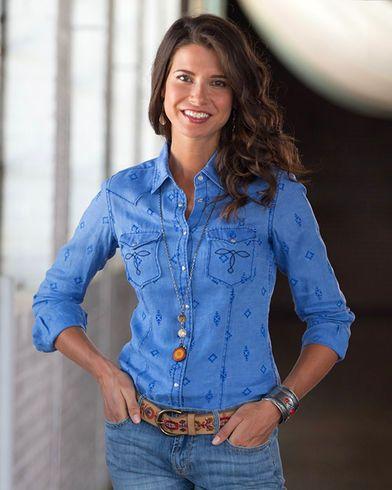 Ryan Michael Women's Flocked Linen Shirt - Country Outfitter