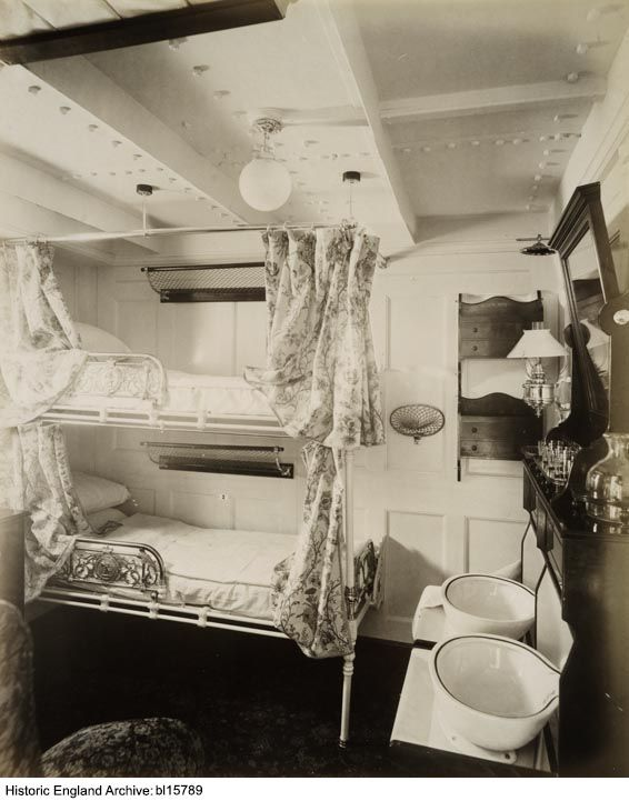 """BL15789 Interior of the first state room on the """"RMS Saxonia"""".  The photograph was taken for the owners, Cunard Steamship Company Limited. Date: 1900  Photographer: Henry Bedford Lemere, Bedford Lemere and Company"""