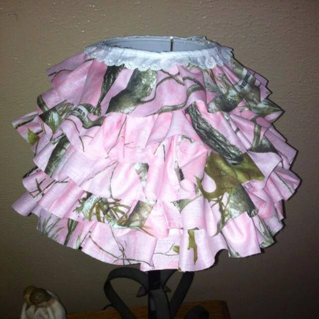 diy realtree pink camo ruffle lamp shade realtreecamo With pink camo floor lamp
