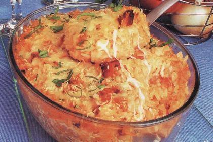 arroz de forno a carbonara