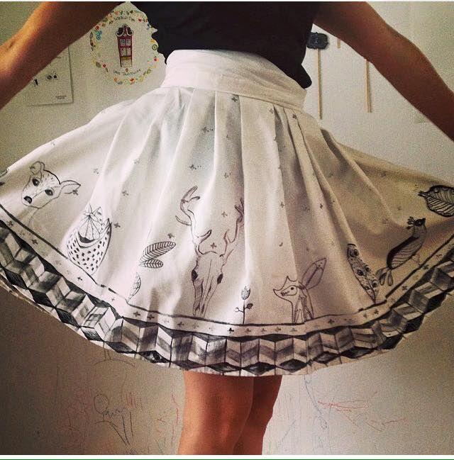 handmade hand draw skirt by Koidanov