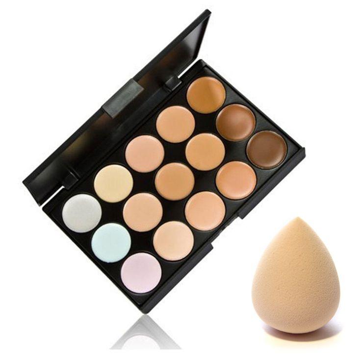 15 kleuren contour palette gezicht cream make concealer palette & spons cosmetische puff make set tool hot selling nieuwe kwaliteit