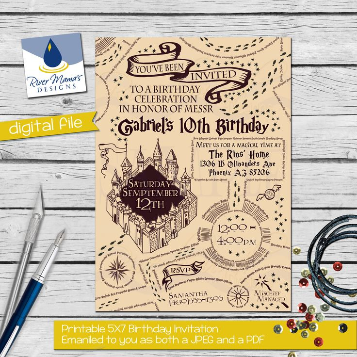 131 best kindergeburtstag images – Harry Potter Birthday Invitation