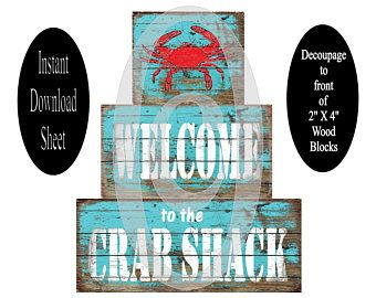 2X4 Decoupage Wood Blocks Sheet , Crab , Aqua , Instant Download , Printable , DIY , Stackable , Pattern , Beach Chic , Modge Podge , Wooden