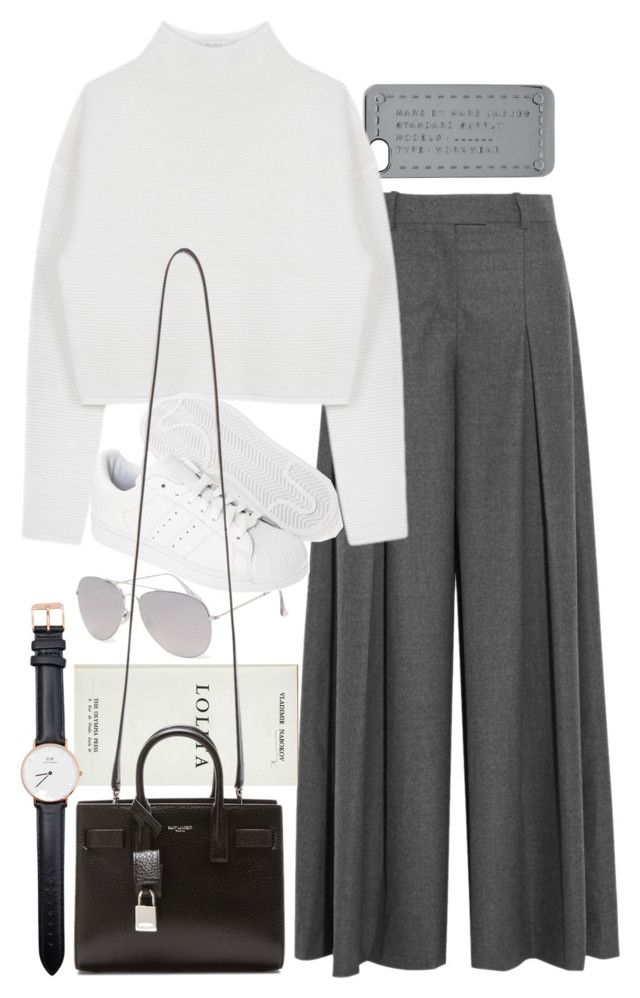 """""""Untitled #8362"""" by nikka-phillips ❤ liked on Polyvore featuring Marc by Marc Jacobs, J.Crew, With Love From CA, Dion Lee, adidas Originals, Yves Saint Laurent and Daniel Wellington"""