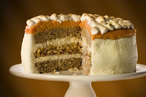 omg. this looks like a cake but is actually turkey, stuffing, mashed potatoes, sweet potatoes, etc. Eeek! Fascinating and horrifying! @Lisa Bonk-Barnes  I say you change your meal plan and base Christmas brunch entirely around this dish.