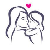 Mãe e silhueta estilizada vetor de filha, esboçado esboço —  Vetores de Stock #71239761