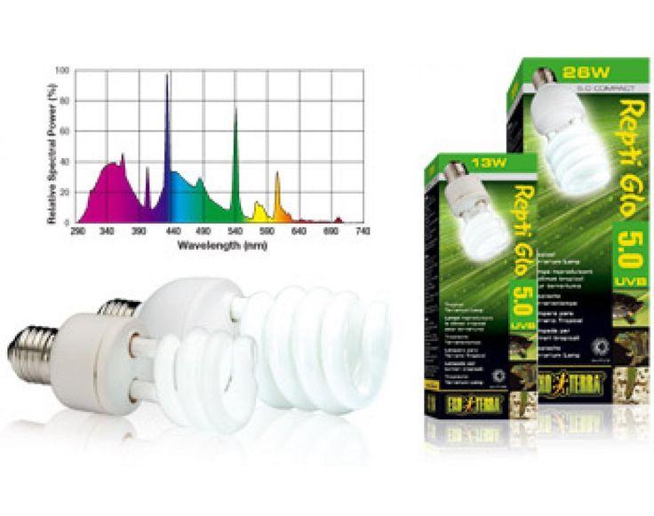 REPTIL GLO 5,0 UVB 25 W  TROPICAL UVB   Il vantaggio delle lampade Exo Terra Repti Glo Compact Fluorescent è rappresentato dalla loro dimensione e dal fatto di essere auto-bilanciate.  23,50 €  https://www.pets-house.it/lampade-e-supporti/2847-reptil-glo-50-uvb-25-w-tropical-uvb-015561221870.html