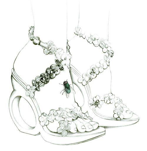 illustration mode sandales talon et mouche Florence Gendre