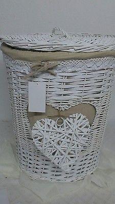 Großer Wäschekorb*Rattan*mit Herz Leineneinsatz *Spitzenborde weiß rund 57cm Neu