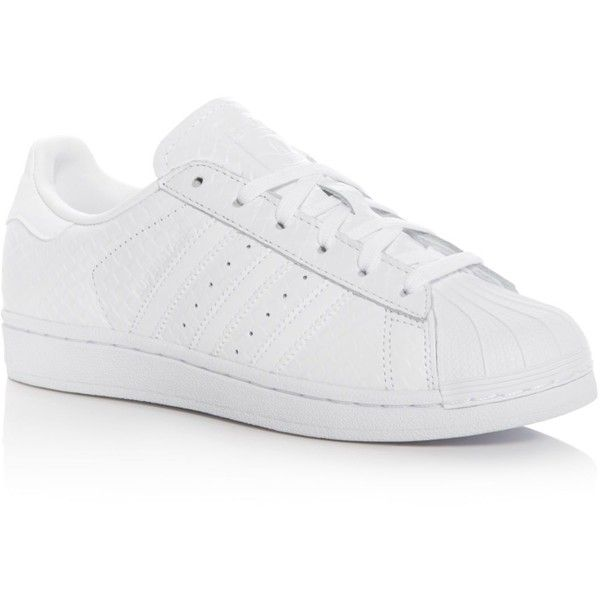 Adidas Superstar Snake Embossed Lace Up Sneakers (345 ILS) ❤ liked on Polyvore featuring shoes, sneakers, white, adidas trainers, leather shoes, adidas shoes, sports trainer and white shoes