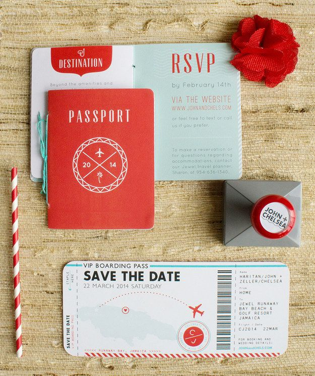 The couple that chose this passport and plane ticket invite did right by their destination wedding.