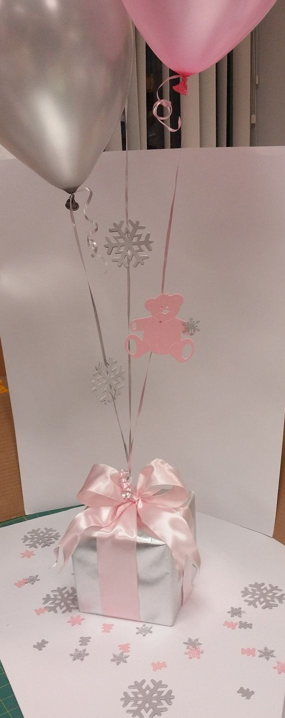 Winter Baby Shower decorations in Pink, Blue or for Twins! Balloon Centerpiece with Personalized Snowflake and Teddy Bear Table Scatter. Looking for ideas for your Winter Baby Shower? This centerpiece is everything you need to get your theme going - matching banner, cupcake toppers and other party supplies available!