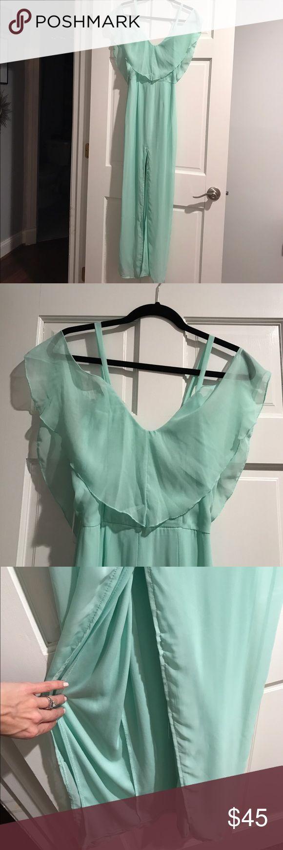 Selling this ASOS Mint Green Maxi Dress with Slit Size 2 on Poshmark! My username is: ashleyfranc2. #shopmycloset #poshmark #fashion #shopping #style #forsale #ASOS #Dresses & Skirts