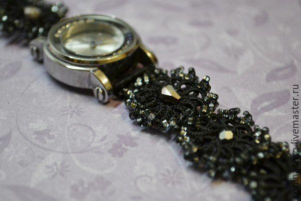 Купить Часы с браслетом ручной работы - черный, часы женские наручные, подарок девушке