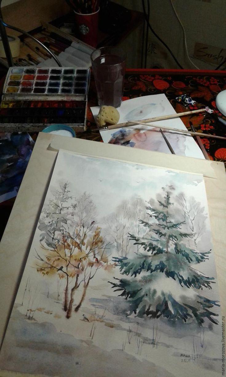 Вдохновляемся видом из окна. Рисуем зимний пейзаж акварелью - Ярмарка Мастеров - ручная работа, handmade