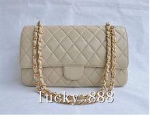 marcas famosas 2014 novo designer canal bolsa das mulheres da moda 2.55 aba dupla saco acolchoado lambskin couro cadeia bag(China (Mainland))