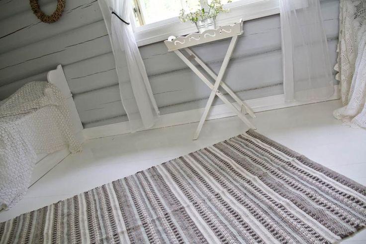 Malt gulv, malte vegger og tak på hytta