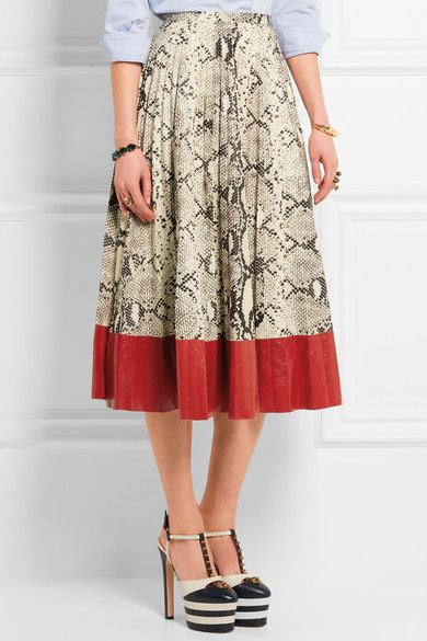 Gucci - Pleated Snake-effect Leather Skirt - Red - IT42