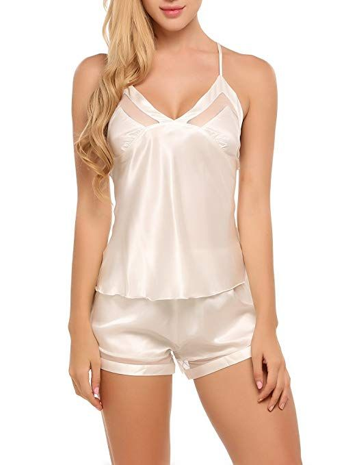 a17b6a926 Ekouaer Sexy Satin Pajama Shorts Set Strappy Silk Sleepwear For Women at  Amazon Women s Clothing store