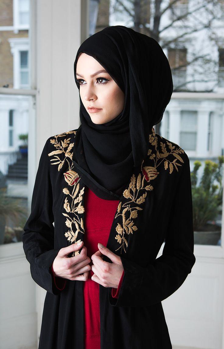 andalucian garden open jacket black muslimah fashion