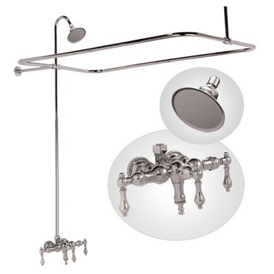 Clawfoot bathtub faucet with shower enclosure, bathtub wall mount, low spout by Elizabethan Classics