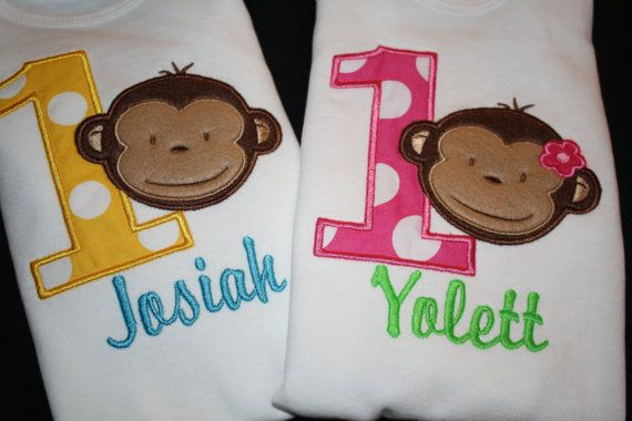 Mod Monkey Birthday Onesie or Shirt for Girl or Boy