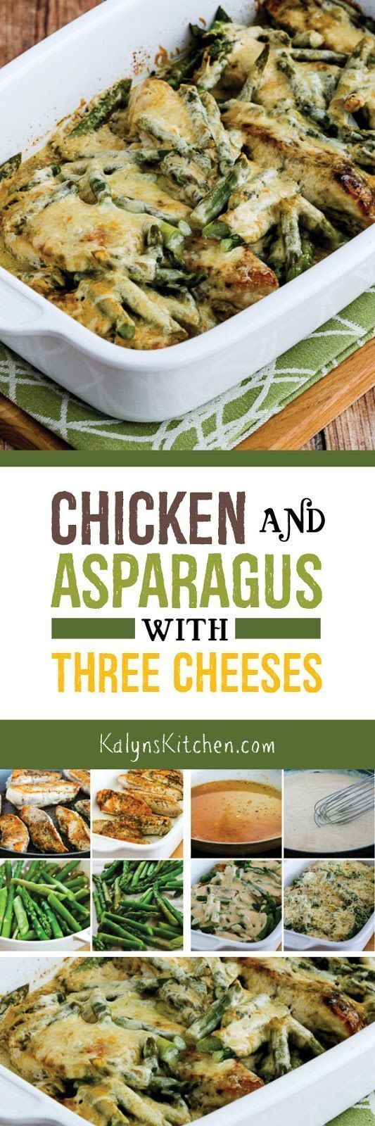 Chicken and Asparagus with Three Cheeses is an ultra-easy low-carb casserole that will make you think about spring! This delicious chicken and asparagus combination is also Keto, low-glycemic, gluten-free, and it can easily be South Beach Diet friendly. [found on http://KalynsKitchen.com]