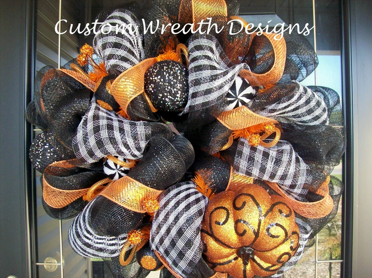 Black and Orange Halloween Fall Wreath (without spider). $95.00, via Etsy.