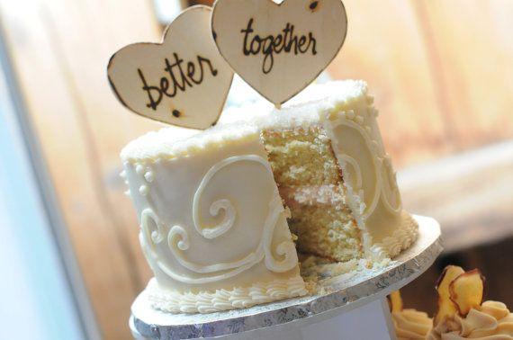 Cuore legno Cake Toppers personalizzati meglio di PrinceWhitaker, $16.99