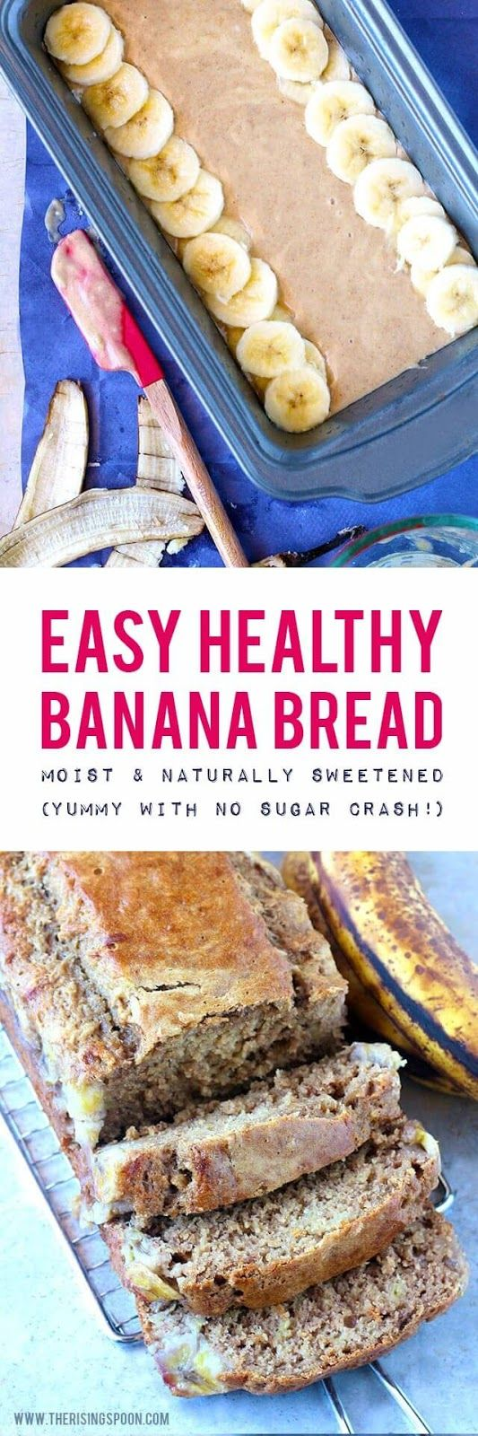 A healthy real food banana bread recipe made with a natural sweetener and higher protein flour so you can enjoy a slice or two of moist