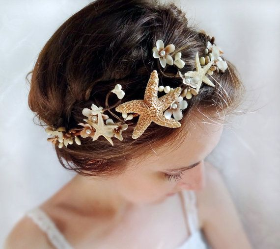 seashell hair accessory beach wedding starfish by thehoneycomb, $90.00