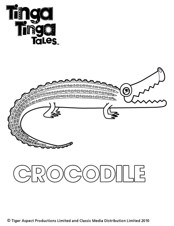 Tinga Tinga Tales Black and white picture of Croc