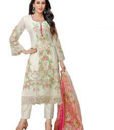 Buy White georgette embroidered semi stitiched salwar with dupatta party-wear-salwar-kameez online
