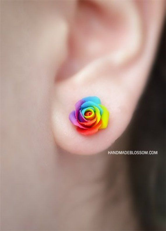 9be5d6c37 Rainbow rose earrings, Miniature flower studs, Pride clay rainbow roses,  Sterling silver studs, Fimo