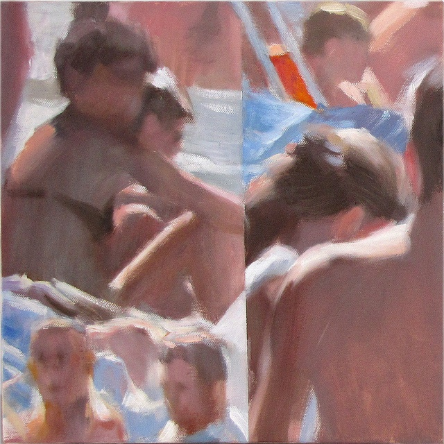 I bagnanti #1541 The bathers, Oil on canvas, cm 30x30